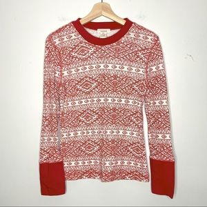 Sundance Long Sleeve Red and White Thermal Top